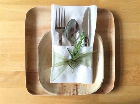 Complete disposable place setting for a wedding or event