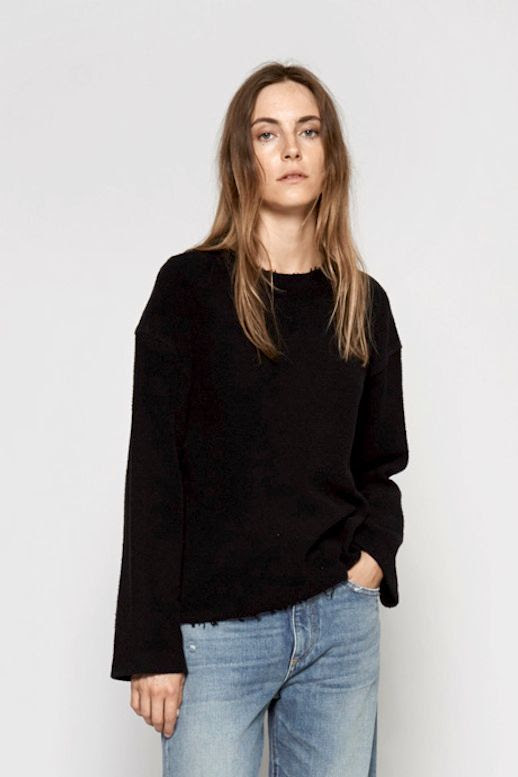 Le Fashion Blog Spring Style Slouchy Simon Miller Black Frayed Hem Sweatshirt Loose Denim Via My Chameleon