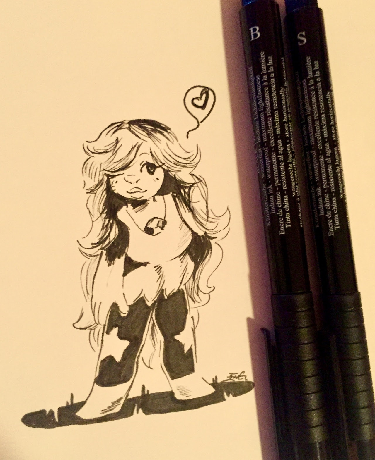 Have an amethyst in black pen because I'm tired and she's fun to draw