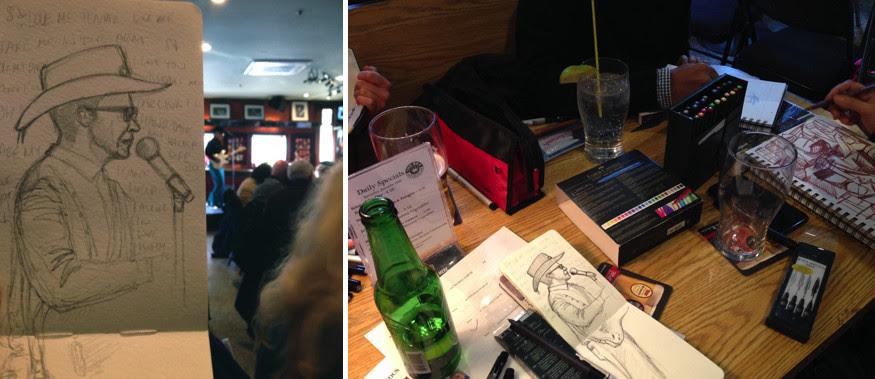 Toronto Urban Sketchers, Urban Sketh, The Rex Jazz & Blues Bar, Live Band, Art