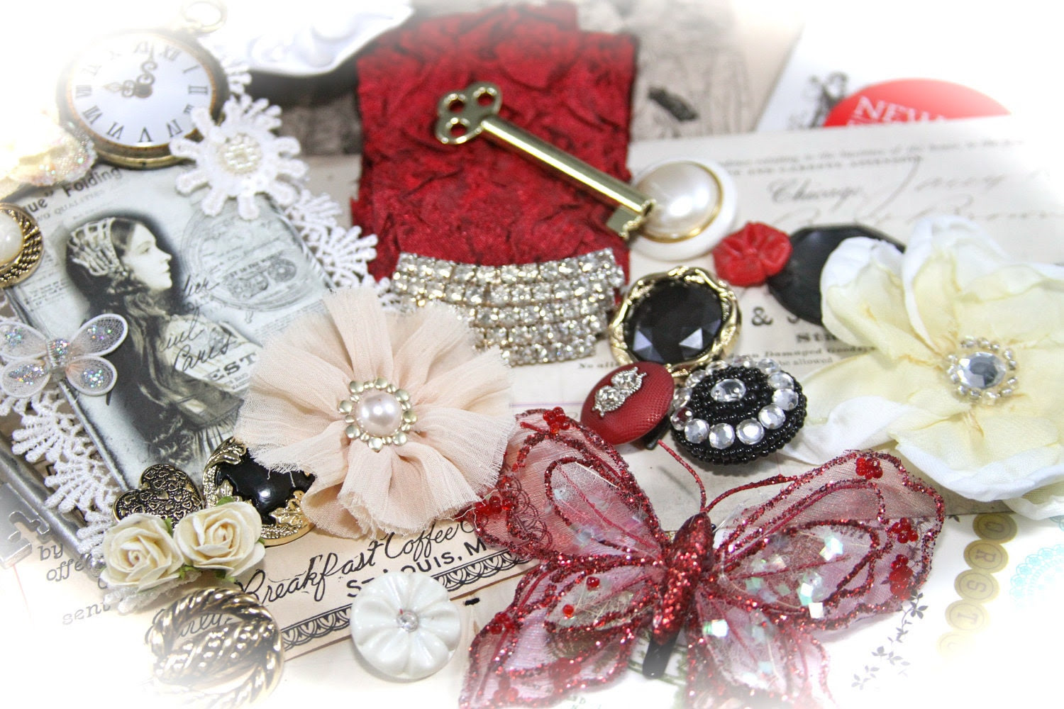 I Think I am in Love Scrapbook KIT  Embellishments for Projects