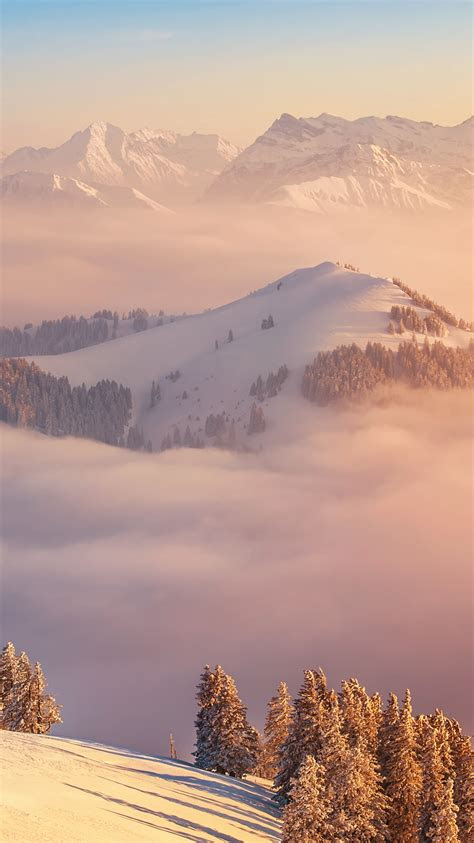 switzerland mount rigi alps clouds iphone wallpaper