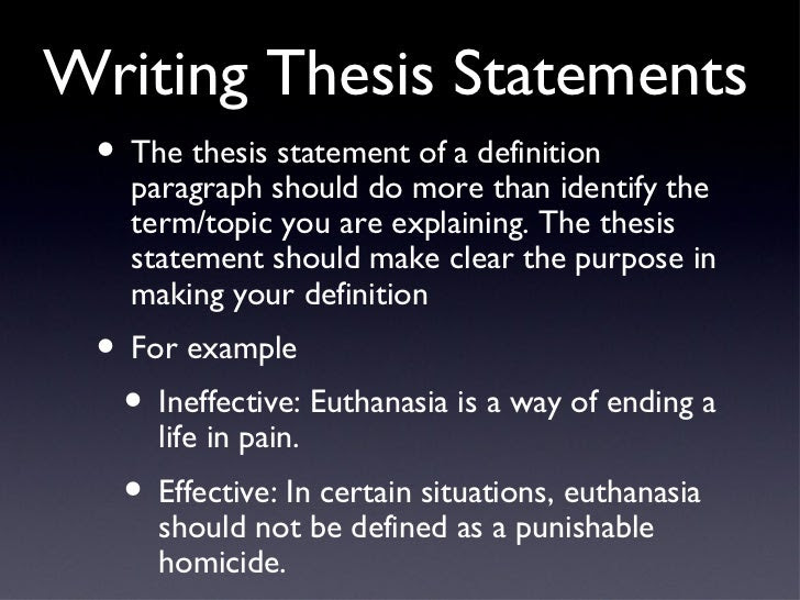 thesis statement definition and examples