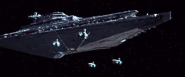 Stormtrooper transports and Kylo Ren's shuttle approach a First Order Star Destroyer in STAR WARS: THE FORCE AWAKENS.
