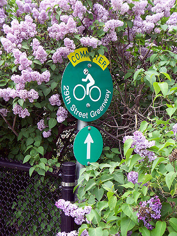 Greenway entrance sign in late May