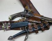 3IN  Brown Leather Pirate Pistol and Sword Baldric with Dagger Frog - Dredmorsplunder
