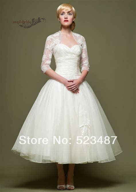 New Vintage Style Custom 3/4 Sleeve Tea Length Wedding