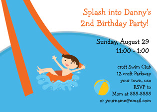 Pool Party Birthday Invitations boy
