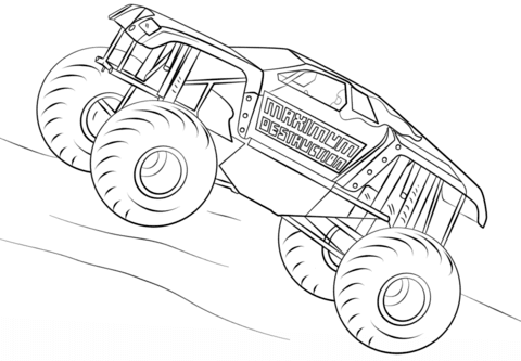 Maximum Destruction Monster Truck Coloring Page Free Printable Coloring Pages