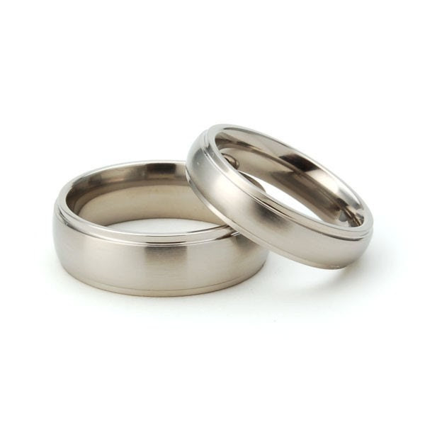 Titanium Raised Center Matching His and Hers Set- Free Sizing