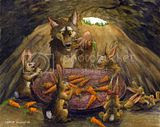 wolf,illustration,cute,rabbit,bunny,carrot,friends,art,canine,painting,watercolor,artwork,monday artday