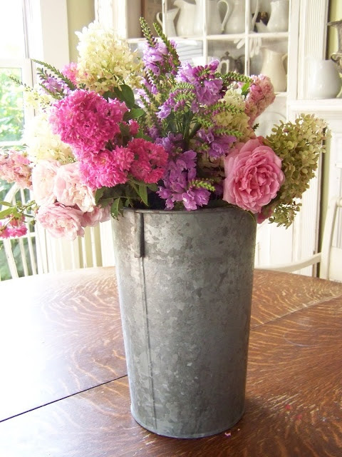 ARBOR HOUSE LANE: End of Summer Flowers - maybe we could think about metal vases mixed with glass vases