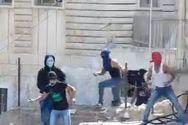 Arab teens hurling rocks and firecrackers in the Jerusalem neighborhood of Ma'ale Zeitim. (archive)