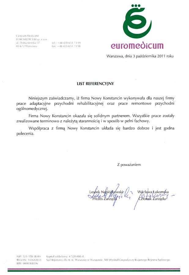 Referencje Firma Budowlana Warszawa Nokon