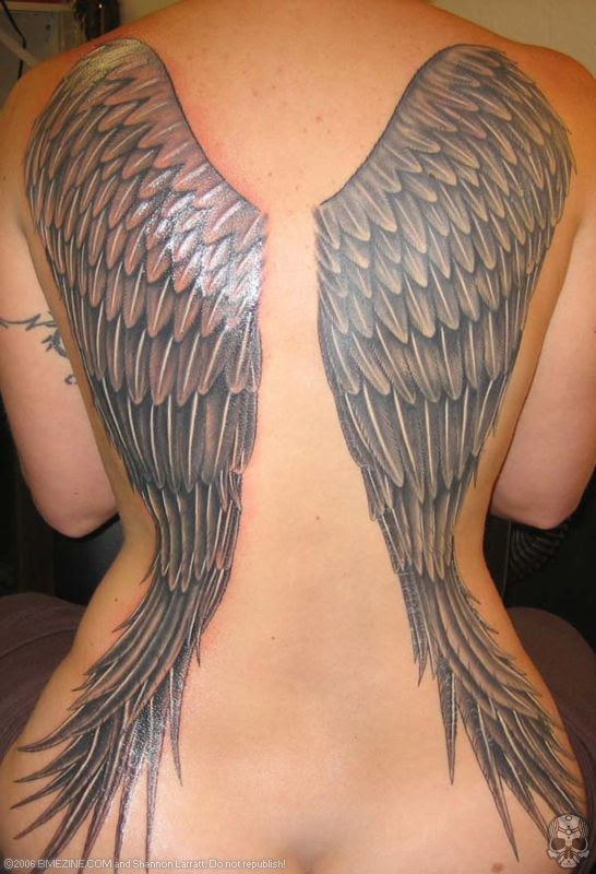 Grey Ink Angel Wings Tattoos On Girl Back Body