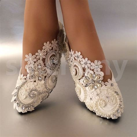 su.cheny White ivory pearls rhinestones lace flat Wedding