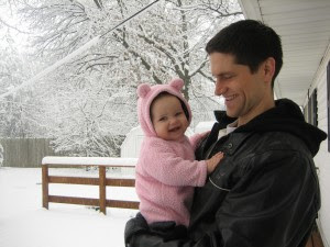 First time being outside in the snow!