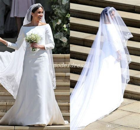 Discount Meghan Markle Wedding Dresses 3/4 Long Sleeve