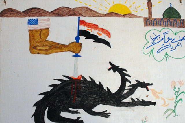 America's strong arm, wielding the Sword of Iraq, slays the black, multi-headed Hydra of Al Qaeda (Michael Totten)
