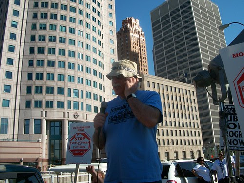 David Sole of the Michigan Emergency Committee Against War & Injustice (MECAWI) speaking at the pre-rally for the Detroit March for Jobs, Justice and Peace held downtown on August 28, 2010.  The march attracted thousands. (Photo: Abayomi Azikiwe) by Pan-African News Wire File Photos