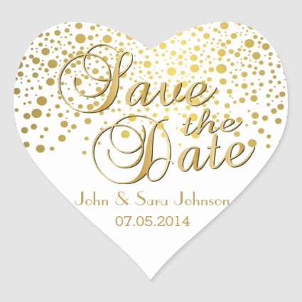Save the Date | Gold Dots | Personalize Heart Sticker