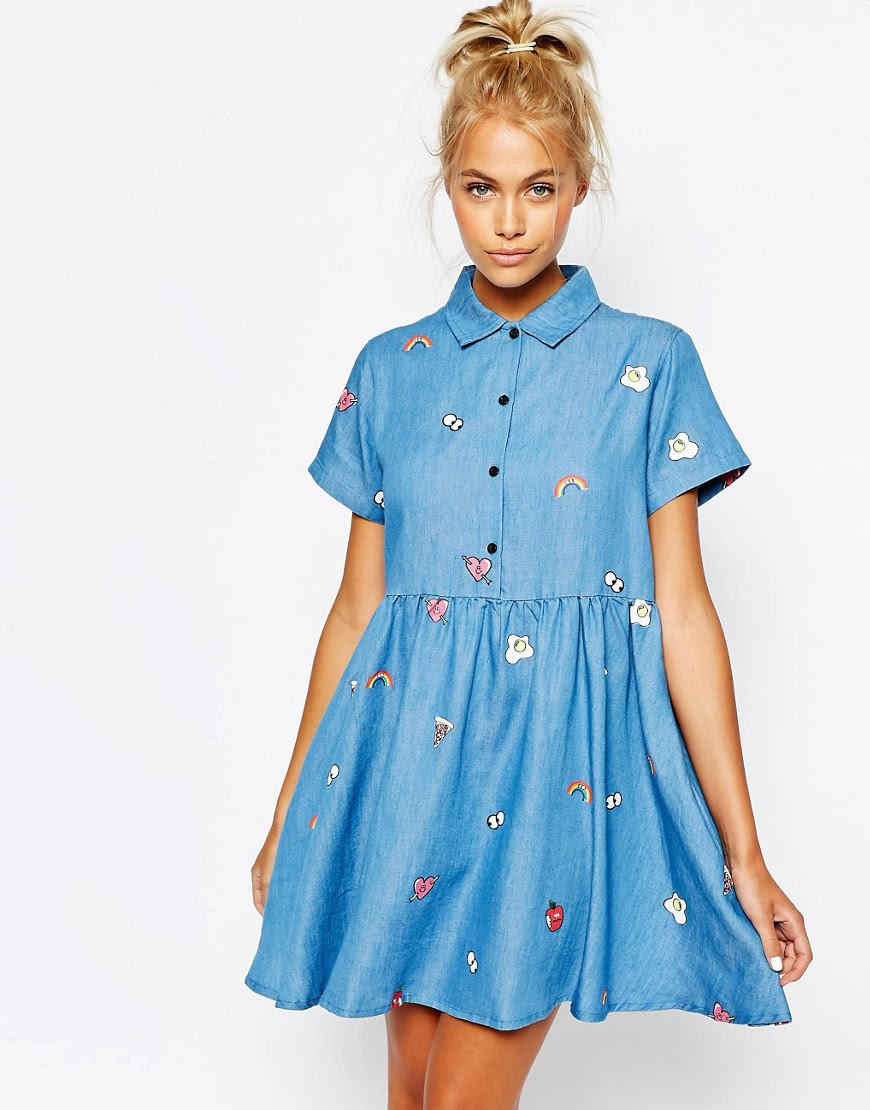 Image 1 ofLazy Oaf Button Front Shirt Dress In Denim With Patches