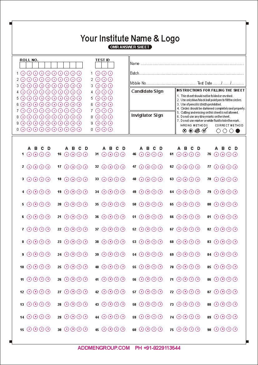 Download OMR Sheet Sample PDF for Practice