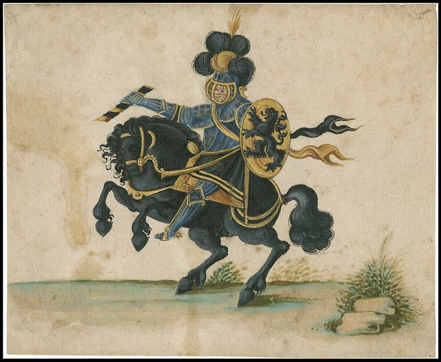 1610 : knight in elaborate regalia on horse up on 2 hind legs