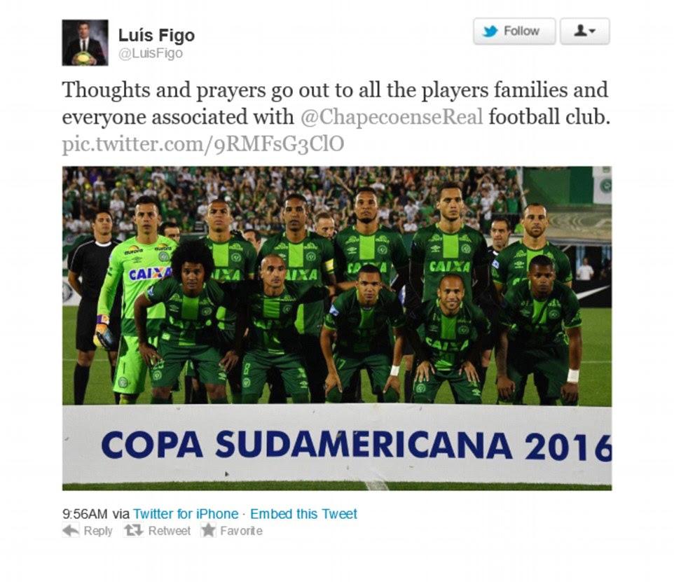O ex-Real Madrid estrela Luis Figo estava entre os muitos jogadores para prestar homenagem, esta manhã, na sequência do acidente