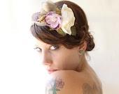 Wedding headband, Bridal hair, flower fascinator, Whimsical hair piece, Hair band - PARADISO - plum velvet flowers - whichgoose