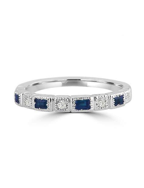 Bezel Set Baguette Sapphire & Round Diamond 10k Gold