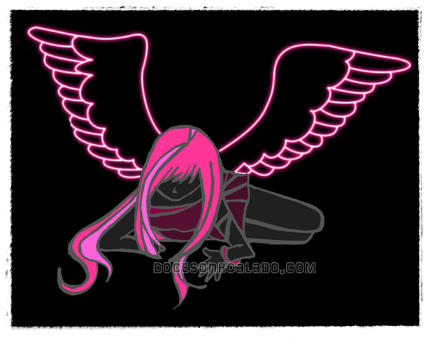Anime neon angel pink