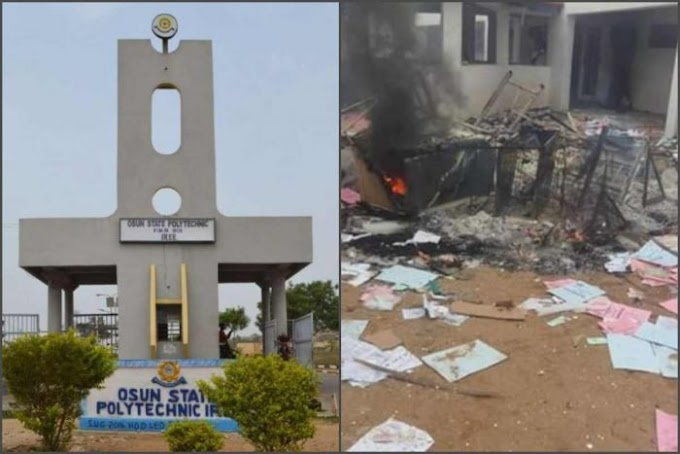 [BREAKING] Osun State Polytechnic Shutdown Indefinitely After Students Burn Down Medical Center