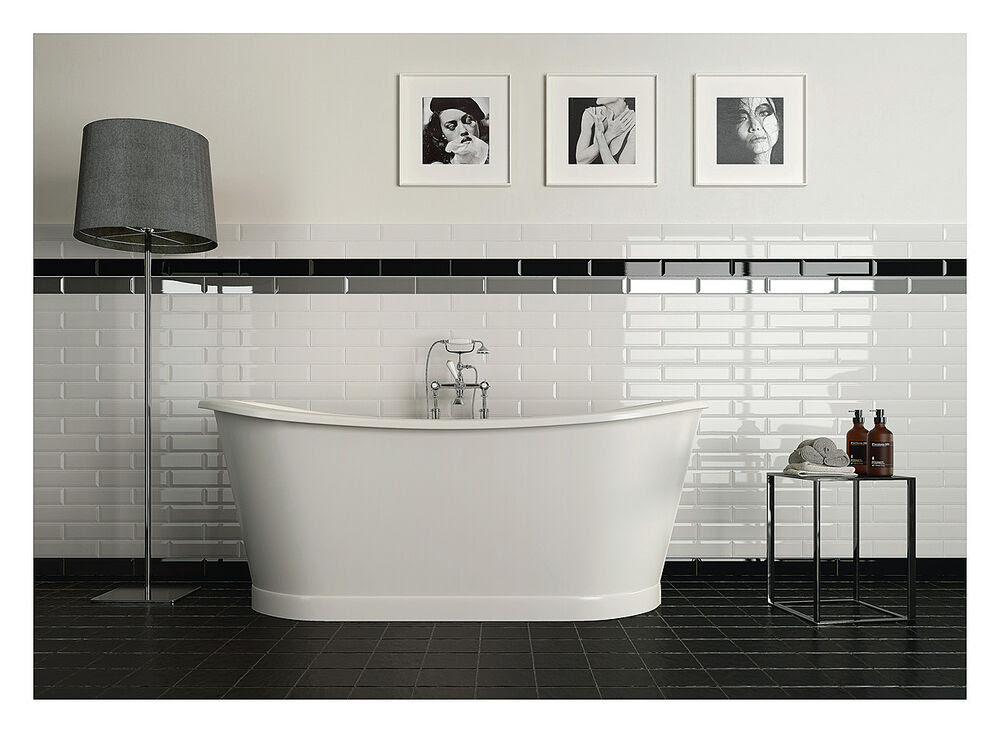 Metro XL Gloss White Kitchen Bathroom Wall Bevelled Subway ...