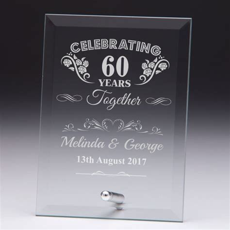 'Celebrating 60 Years' Personalised Glass Plaque   Engrave