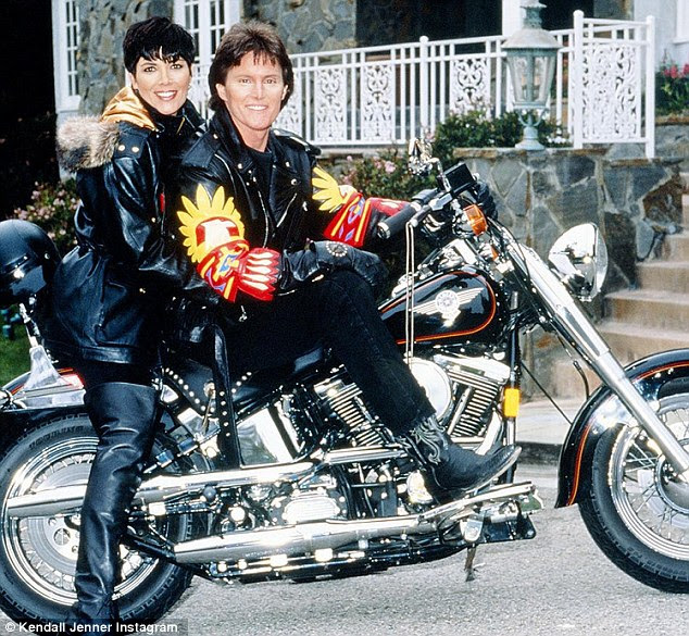 Born to ride: Kendall Jenner shared this old snap of Kris and Caitlyn Jenner when she was Bruce atop a motorbike while dressed in quirky leather outfits
