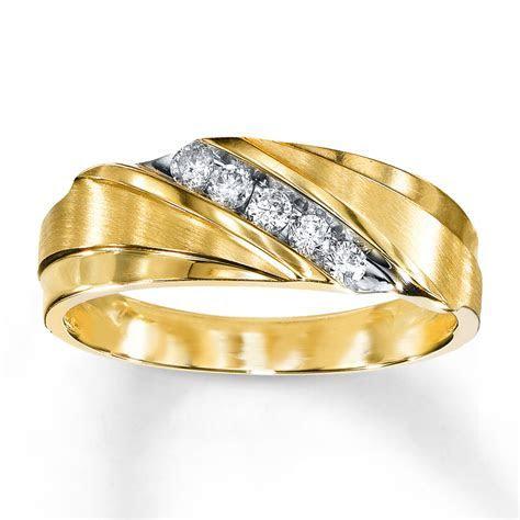 Kay   Men's Wedding Band 1/4 ct tw Diamonds 10K Yellow Gold