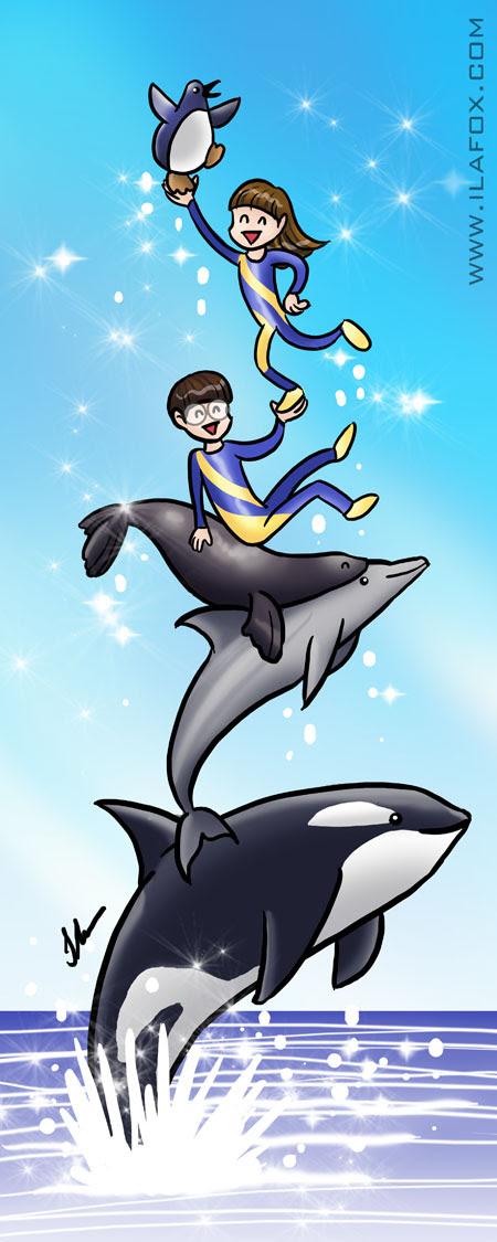 lustração Sea World, baleia orca, golfinho, foca, ila fox e ricbit