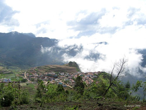 village kissed by mist