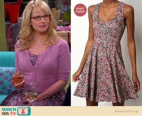 WornOnTV: Bernadette?s purple floral dress and cardigan on