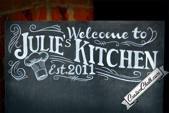 Personalize Kitchen Sign - Custom Kitchen Sign - Kitchen Chalkboard