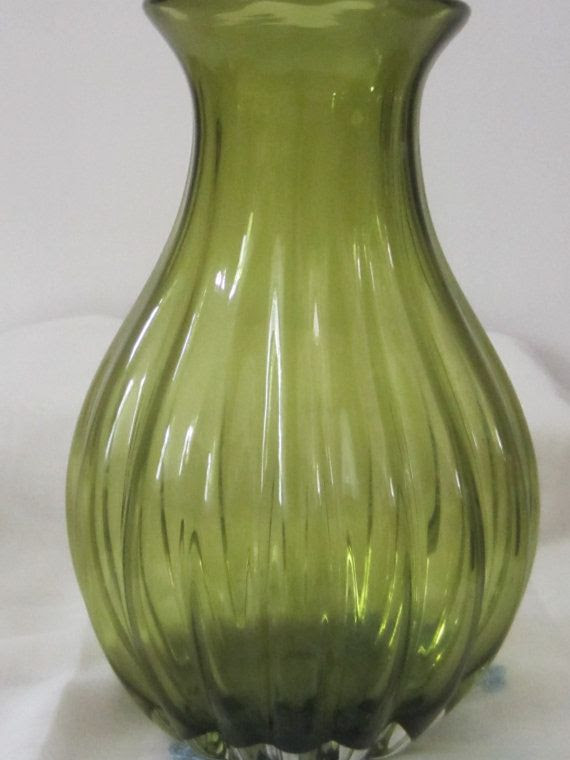 Kiwi Colored Large Tear Drop Ribbed Vase'  by rosaelianevarez, $23.50