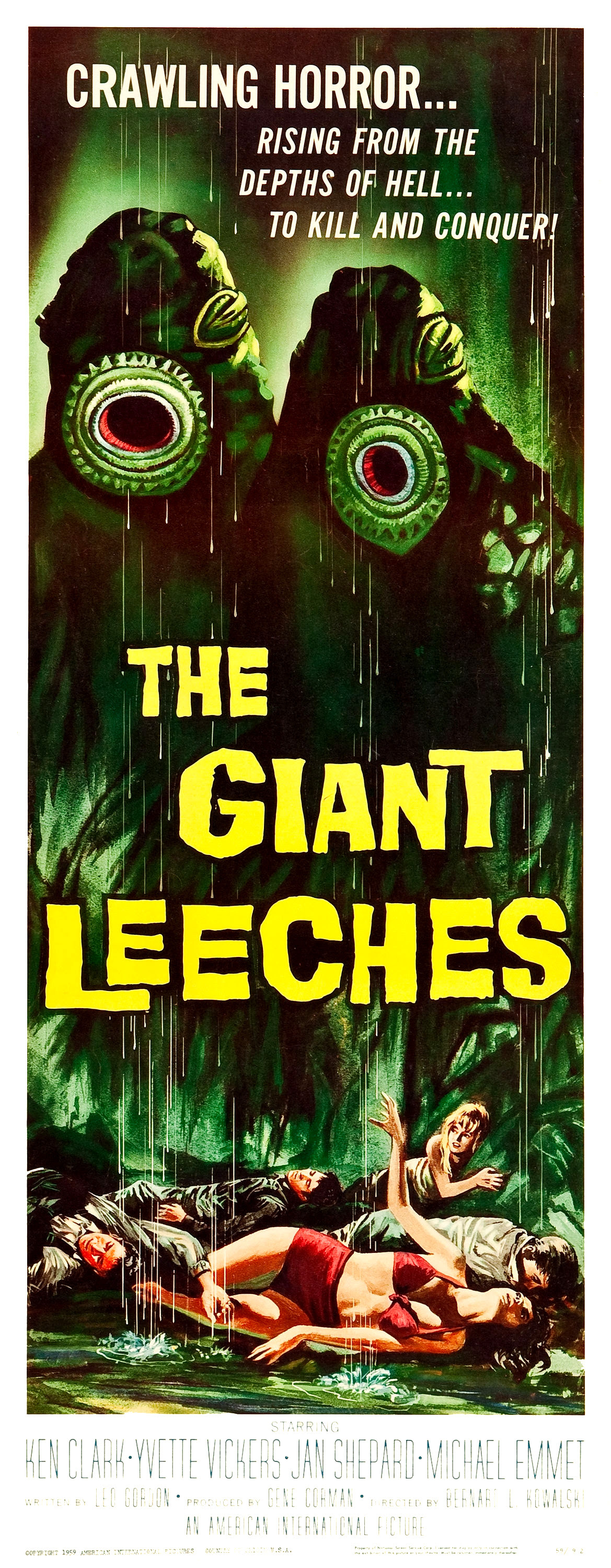 The Giant Leeches (American International, 1959) Three Sheet
