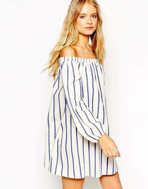 27 Le Fashion 31 Stylish Ways To Wear An Off The Shoulder Look ASOS Swing Dress With Off Shoulder Detail In Wide Stripe
