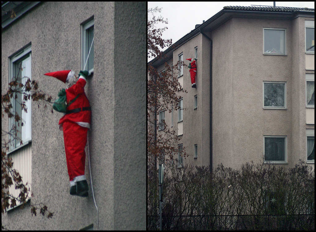 Santa Hanging On For Dear Life