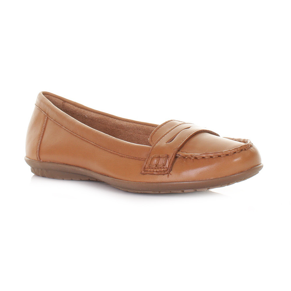 WOMENS LADIES HUSH PUPPIES TAN CEIL PENNY LOAFER SHOES ...