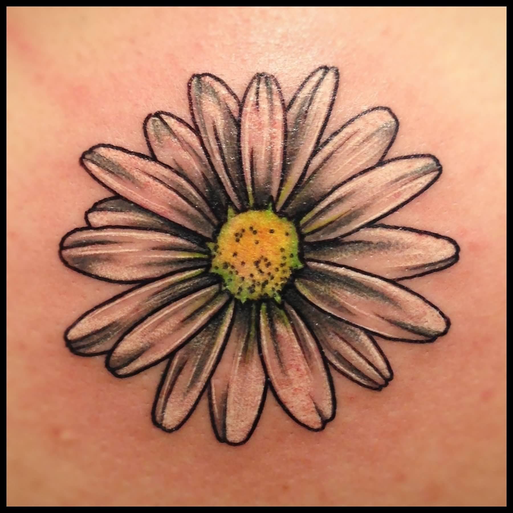 Black And Grey Daisy Tattoo On Side Rib By Aliens Tattoos