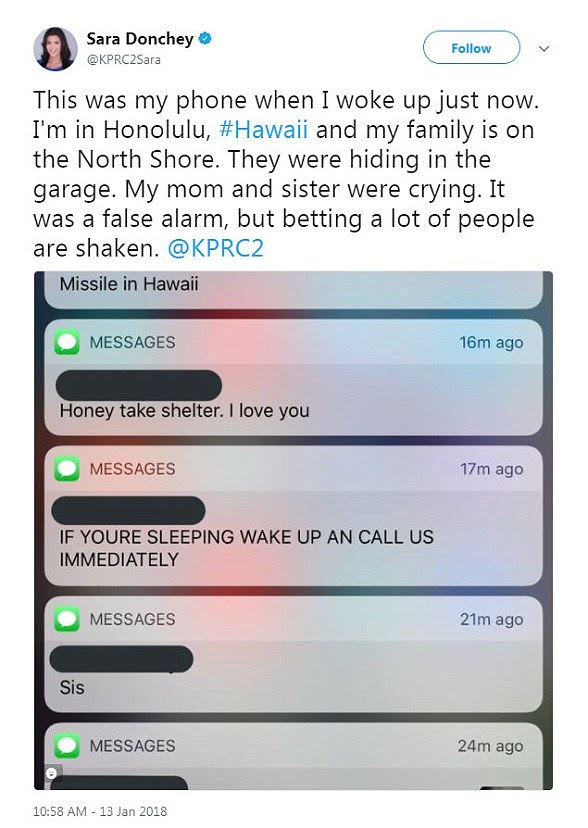 One Twitter user wrote: 'My family was hiding in the garage. My mom and sister were crying. It was a false alarm, but betting a lot of people are shaken'