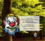 Kreepy Klown Yard Art Woodworking Pattern - fee plans from WoodworkersWorkshop® Online Store - creepy clowns,kreepy klowns,yard art,painting wood crafts,scrollsawing patterns,drawings,plywood,plywoodworking plans,woodworkers projects,workshop blueprints