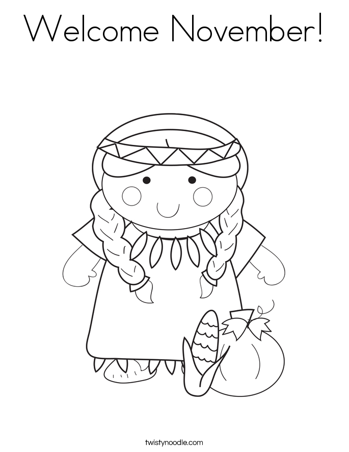 Welcome November Coloring Page - Twisty Noodle